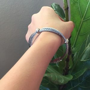 Diamond and Double Row Twisted Cable Bracelet